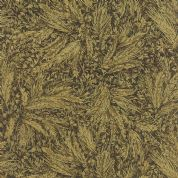 Moda Autumn Elegance by Sentimental Studios - 4792 - Autumn Wheat Metallic Print in Olive Green on Dark Brown - 33112 16M - Cotton Fabric
